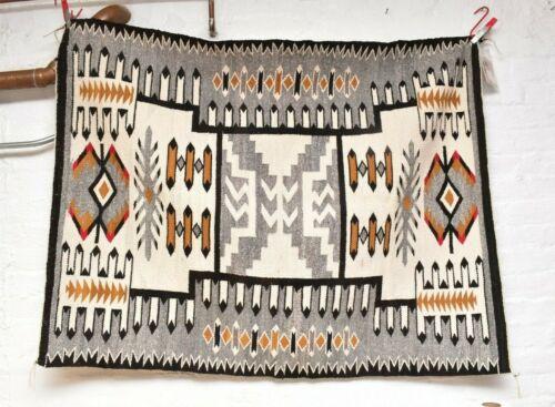 VTG Teec Nos Pos  Navajo Rug Native American Indian Weaving Textile 50x39 ATQ