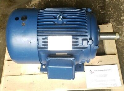 15 Hp Electric Motor 284t 3 Phase 1175 Rpm Premium Efficient Severe Duty - New