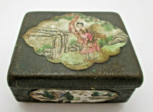 Antique Asian Chinese Japanese Hand Made Enamel on Metal Box