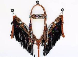 TURQUOISE SPLATTER PAINT FRINGE LEATHER WESTERN TACK SET COB Gatton Lockyer Valley Preview
