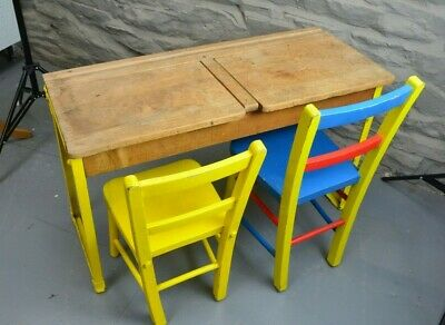 Vintage Retro Small Childrens Double Desk and Chairs. Metal legs.