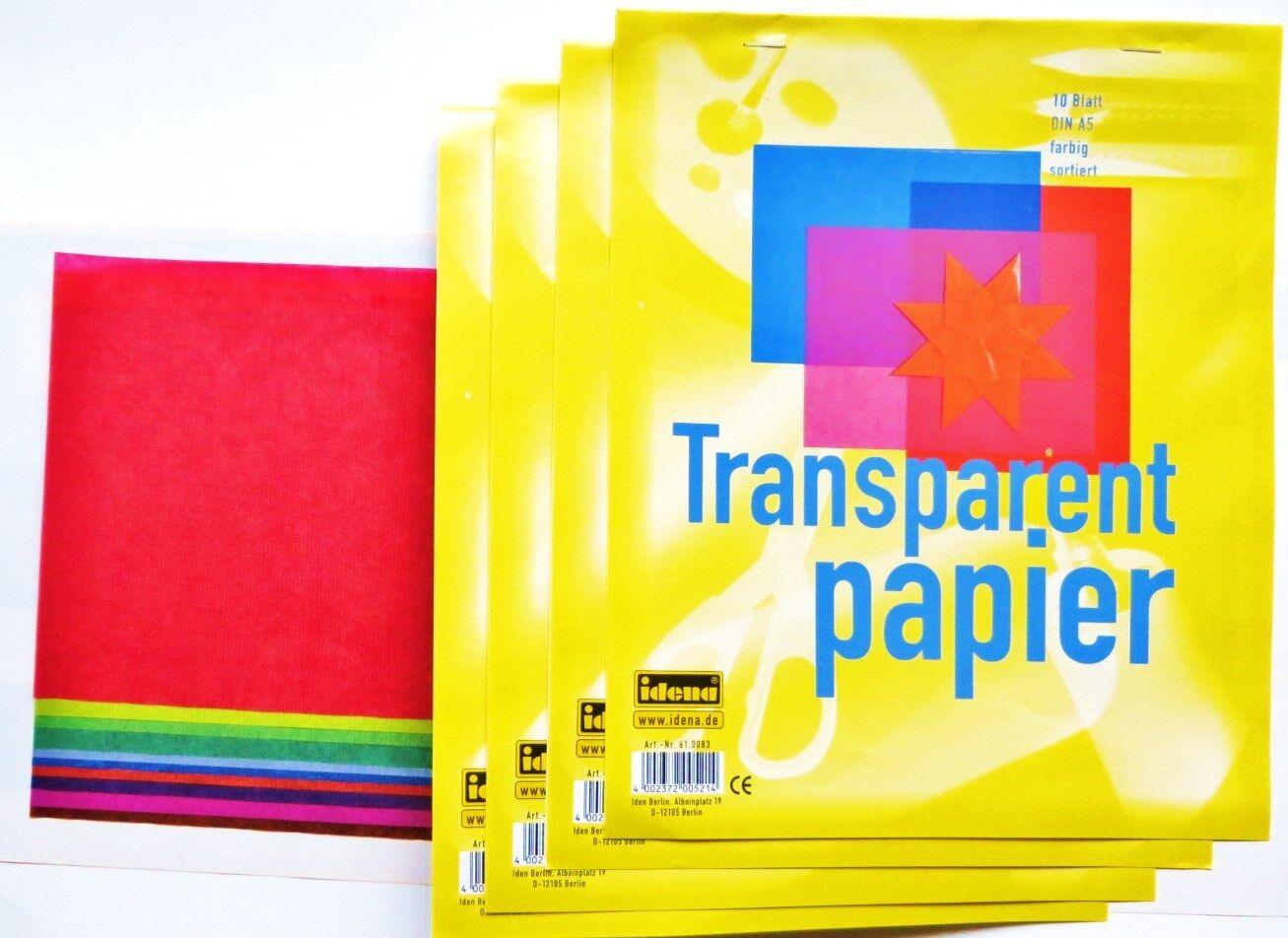 4 x 10 Blatt Transparentpapier DIN A5 Bastelpapier Transparentbastelpapier