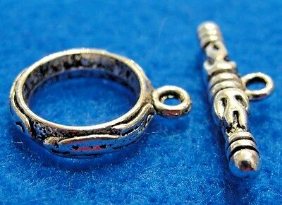 10Sets Tibetan Silver RING Toggle Clasps Connectors Hooks Jewelry Finding C223