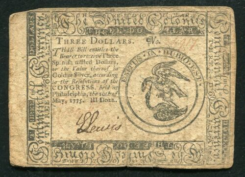 CC-3 MAY 10, 1775 $3 THREE DOLLARS CONTINENTAL CURRENCY NOTE