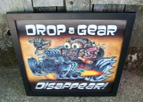 Ed Roth Style 3D Monster Hot Rod Rat Rod Car Picture Sign DROP A GEAR..DISAPPEAR