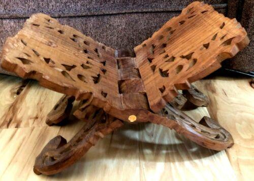Book Holder Carved Wood Folding Stand India Bible Cookbook Ornate Vintage! b19