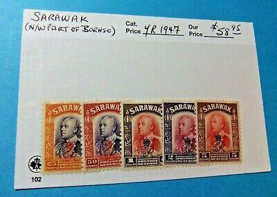 5 Rare Borneo / Sarawak Stamps, 1947