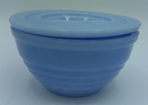 Vintage Jeannette Delphite Blue Ribbed Grease Dripping Jar w Lid 1930