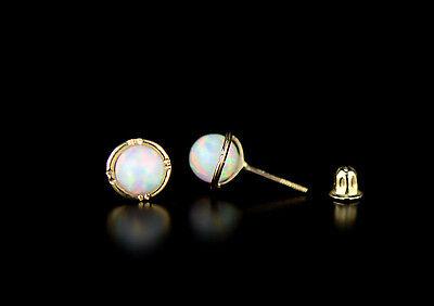 14k Yellow Gold Round Opal Stud Earrings/ Screw Back