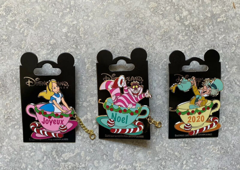 DLP DLRP Disney Paris Christmas Alice In Wonderland Pin Set Joyeux Noel LE 700