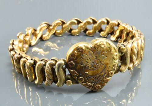 CARMEN Vintage GOLD FILLED SWEETHEART Expansion Bracelet ETCHED HEART LCOKET DFB