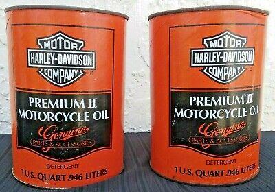 TWO VINTAGE 1 Quart HARLEY DAVIDSON PREMIUM II Motorcycle Motor OIL CANS FULL!
