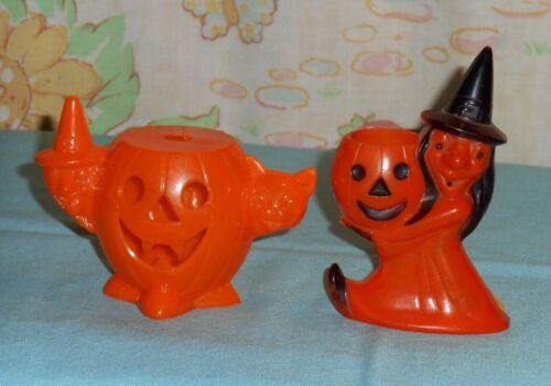 vintage HALLOWEEN CANDY CONTAINER LOT x2 jol/witch/cat & witch carrying jol