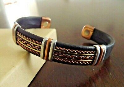 Solid Copper Leather Wrapped Magnetic Bracelet Men Women Energy Pain Jewelry (Copper Pain Magnetic Bracelet)
