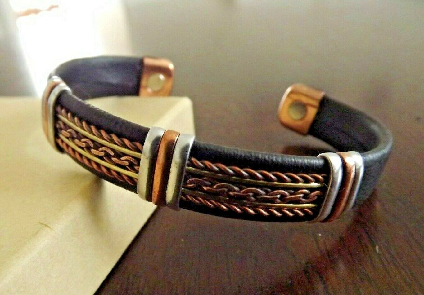 Jewellery - Solid Copper Leather Wrapped Magnetic Bracelet Men Women Energy Pain Jewelry
