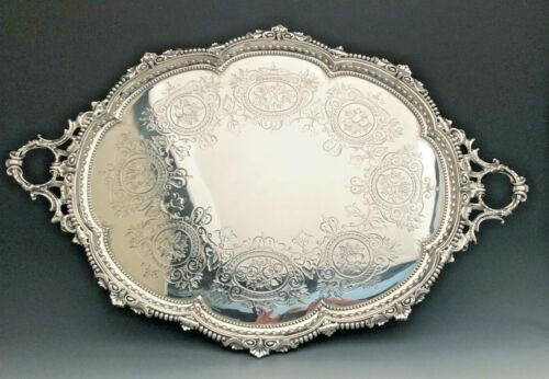 """Beautiful Sheffield Sterling Silver large oval Tray or Waiter 28"""" x 19"""""""