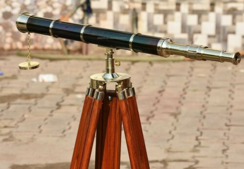 """Vintage Antique Nautical 39"""" Telescope With Tripod Stand Watching Brass Spyglass"""