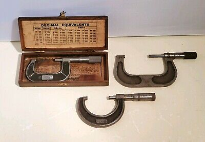 Vintage Micrometer Lot Of 3 - Lufkin Slocomb Brown Sharpe 1-2 2-3 W Box