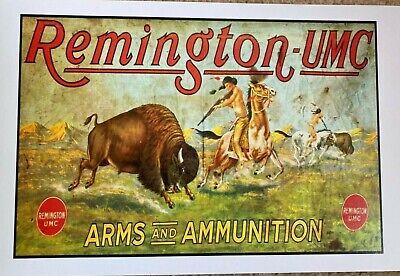 Remington - UMC Poster - Rifles - Ammunition - Wild West - Indians - Guns - Ammo