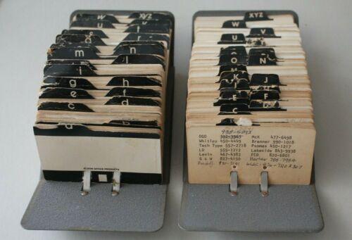 Vintage PAIR Rolodex V-File Jr. Zephyr American Metal Card Organizer
