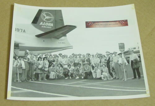Vintage Original 8x10 Photo of an Aloha Airline Airplane w/Group of People