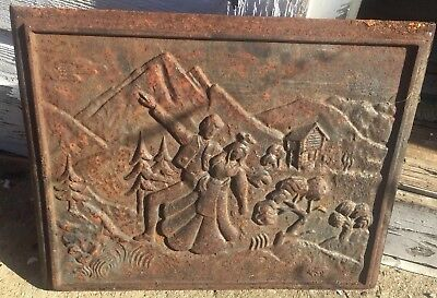 """Vtg ARCHITECTURE SALVAGE CAST IRON PANEL  GRATE Victorian Dancing Ornate 18.25"""""""