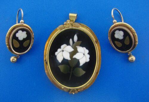 VICTORIAN Piertra Dura 12k Yellow Gold Pendant & Earrings Set Circa 1900s