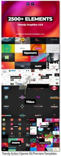+2500 Motion Graphics After Effects Premiere Trendy Action Templates V2.1