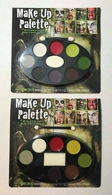 Halloween Makeup Kit Palette Tray 8 Colors Costume Accessory Face Paint Lot of 2](2 Faces Halloween Makeup)