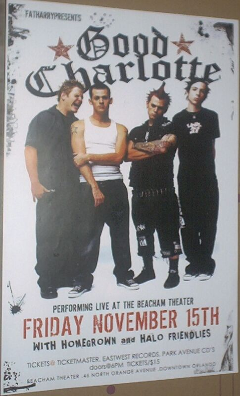 Good Charlotte RARE 2002 LIVE CONCERT GIG POSTER Young And The Hopeless no-cd/lp