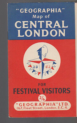 Geographia Map of Central London for Festival Visitors 1951