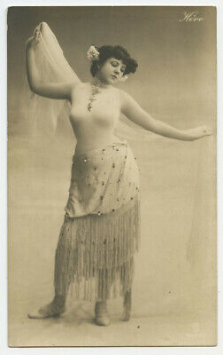 c 1910 Risque Nude HERO BODY BEAUTIFUL Herito Belly Dancer photo postcard