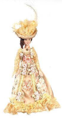 Dollhouse Miniature Doll Mother Victorian Porcelain Floral Dress & Hat 1:12