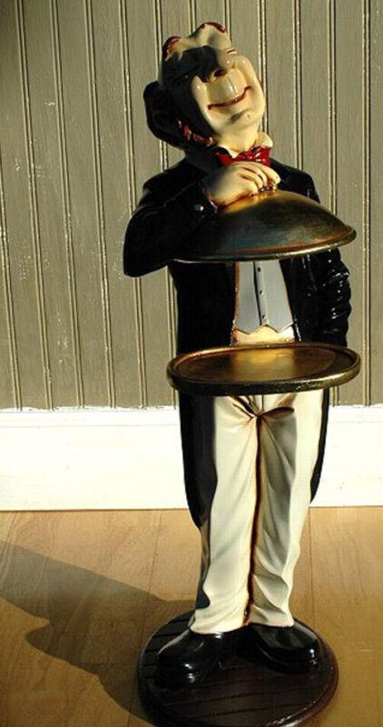 Gold Server Tray 2 ft Waiter Butler Statue Buffet Table Restaurant Kitchen Decor