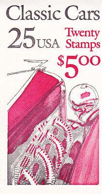 U.S. COMMEM BOOKLET OF 20 SCOTT#BK164 1988 25ct CLASSIC CARS MINT UNDER FACE