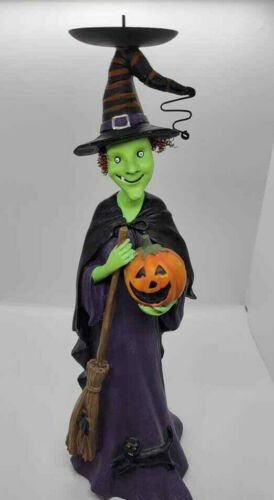 Halloween Candle Holder Tall Witch With Pumpkin Cat Broom Vintage
