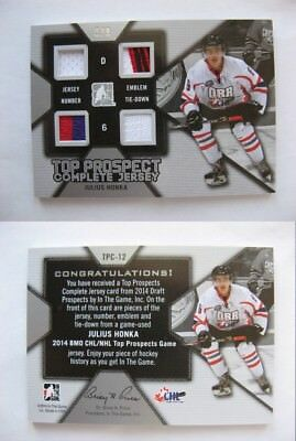 2013-14 ITG Draft Prospects TPC-12 Honka Julius 6/9 complete jersey FINLAND Star image