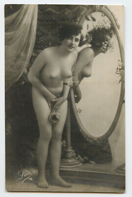 1920s French Risque Nude MIRROR FLAPPER photo postcard