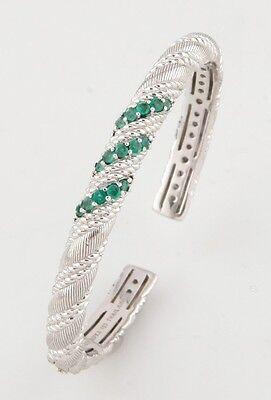 Sterling Silver Judith Ripka Hinged Cuff Bracelet w/ Three Rows Emeralds
