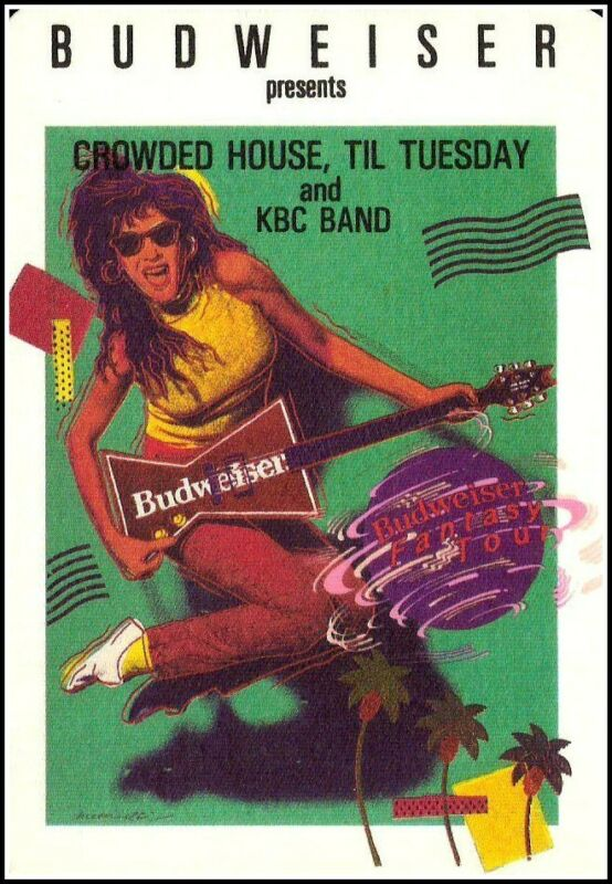 Crowded House Til Tuesday KBC Band WORLD TOUR PROMO PASS  1985