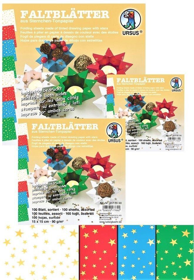 100 Faltblätter Sterne 10cm/15cm/20cm  90g/m² Bastelpapier Faltpapier Origami