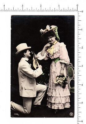 4971 Man woman courtship c 1910 RPPC bowl back mandolin real photo postcard