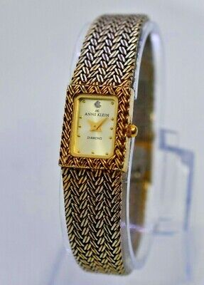 Ladies Anne Klein Diamond Gold Tone Dress Watch, Mesh Band, Analog, 10/5996