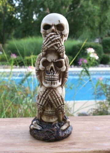 Halloween See Hear Say No Evil Skull Sculpture
