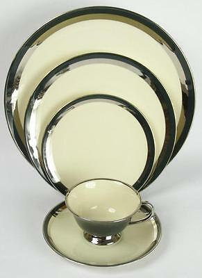 Flintridge China Contessa Black & Platinum 5 Piece Place Setting Fine Bone (HH)