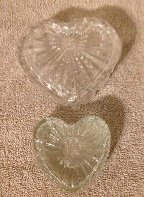 HEART Shaped Glass Trinket Dishes W/Lids Lot Of 2 Beautiful Excellent Condition