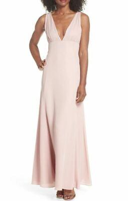 WAYF Women's Kiara Empire Plunge Rose Neck Gown Medium MSRP $138
