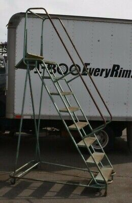 Rolling Step Ladder 8 Step Steel 6 Foot Tall At Highest Step 25 Width