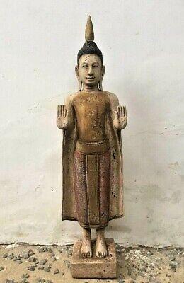 Figure Buddha Mudra Wooden Hands Knee Khmer Angkor Style Cambodia Asia