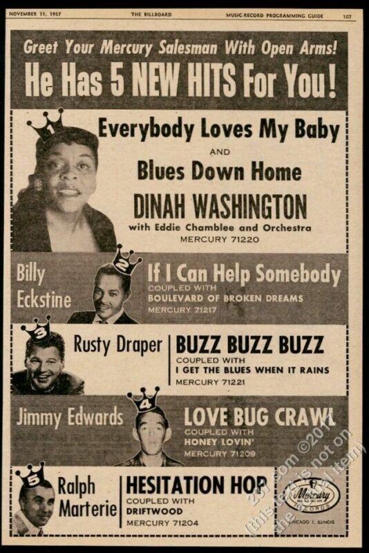 1957 Dinah Washington photo Billy Eckstine etc Mercury Records trade ad